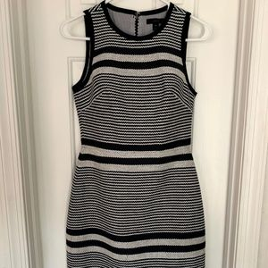 J Crew Navy Blue and Cream Striped Dress Size 00